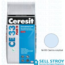 Затирка Ceresit CE 33 PLUS цв.шов 1-6 мм №180 Светло-голубой 2 кг